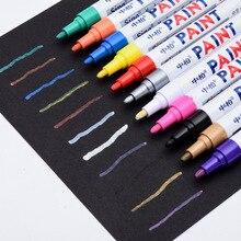 Водонепроницаемый металик фломастеров с флуоресценции цвета шин черной краской Керамические маркеры для стекла ткань маркеры