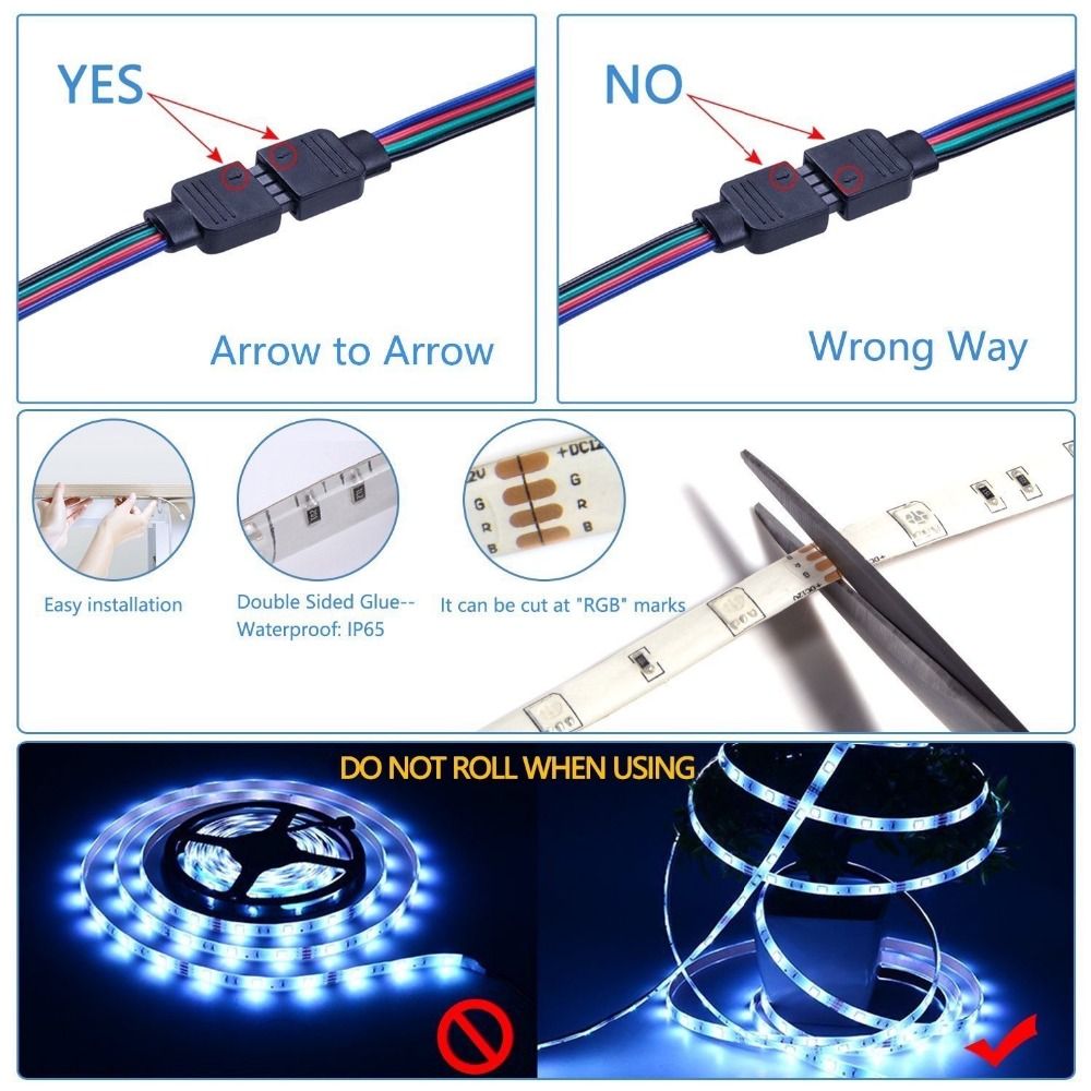 5050 RGB LED Tape Wireless WiFi LED Strip 5M 10M 15M Kit 12V 150leds Waterproof Flexible Rope Light WiFi Controller Power Supply in LED Strips from Lights Lighting