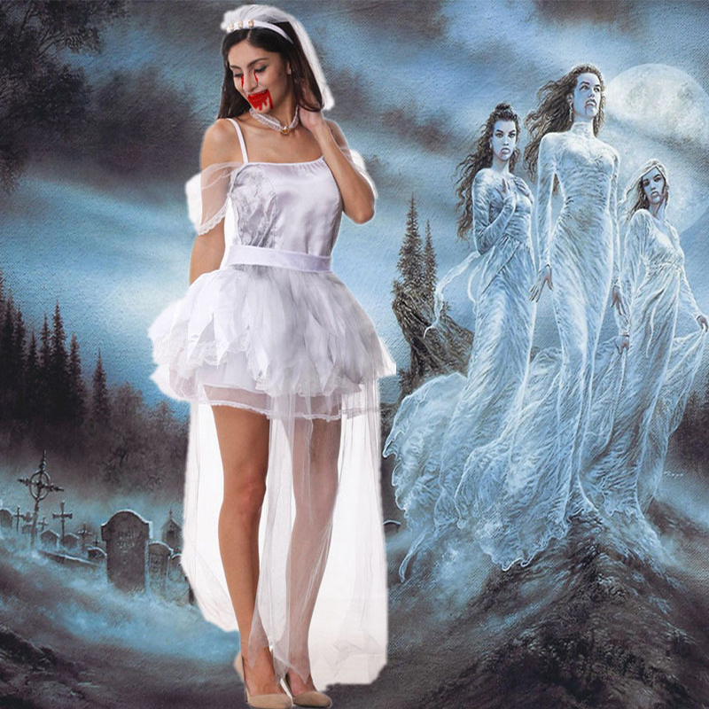 <font><b>Halloween</b></font> <font><b>Women</b></font> Vampire Zombie <font><b>Sexy</b></font> Bra Strapless <font><b>Dress</b></font> Scary Ghost Bride Cosplay Costume Bride Corpse Wedding Costume AZ076 image