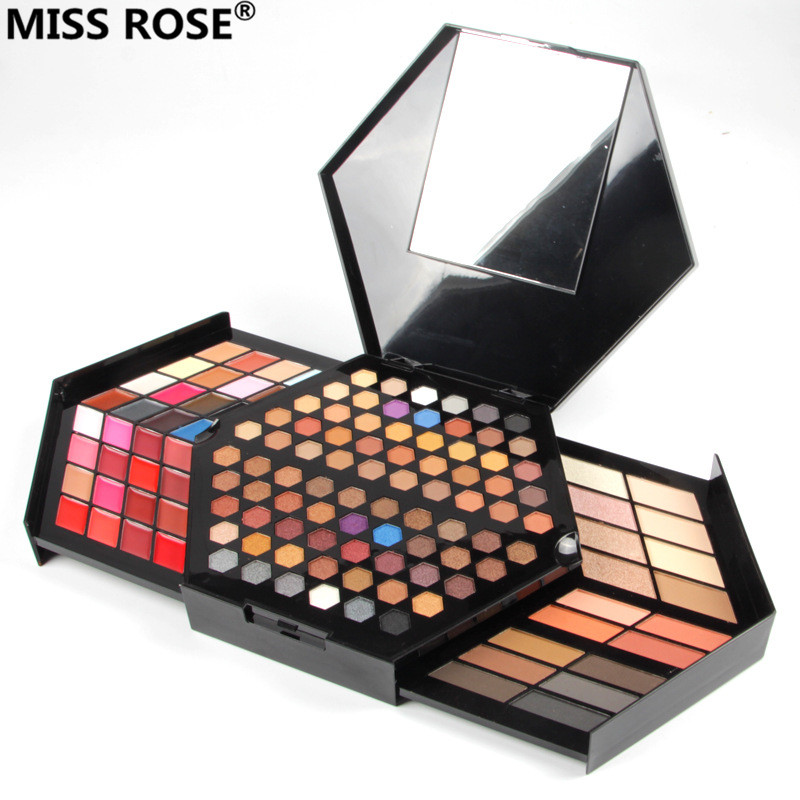 free shipping MISS ROSE Hexagon hand Make-Up Case makeup set of matte shimmer eye shadow,blush powder,eyebrow,concealer,lipgloss miss rose plate of the piano box eye shadow makeup of dumb light of pearl tray blush powdery cake grooming powder cosmetics box