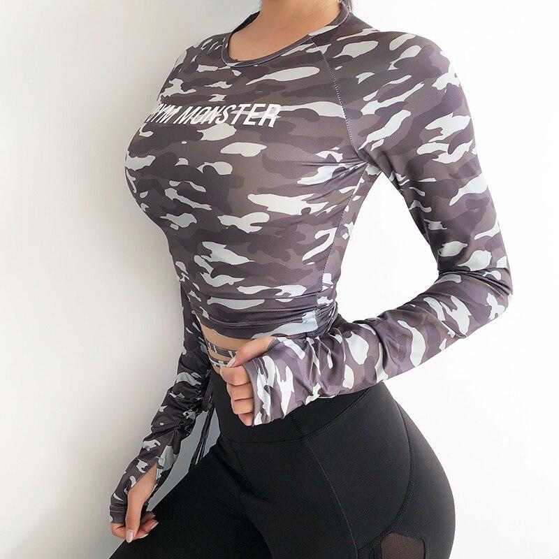 Topo de Fitness Camisa de Yoga Camisa de Treino Mulheres Sexy Manga Longa Colheita T-shirts Camuflagem Ginásio Superior Esportes t Correndo Roupas