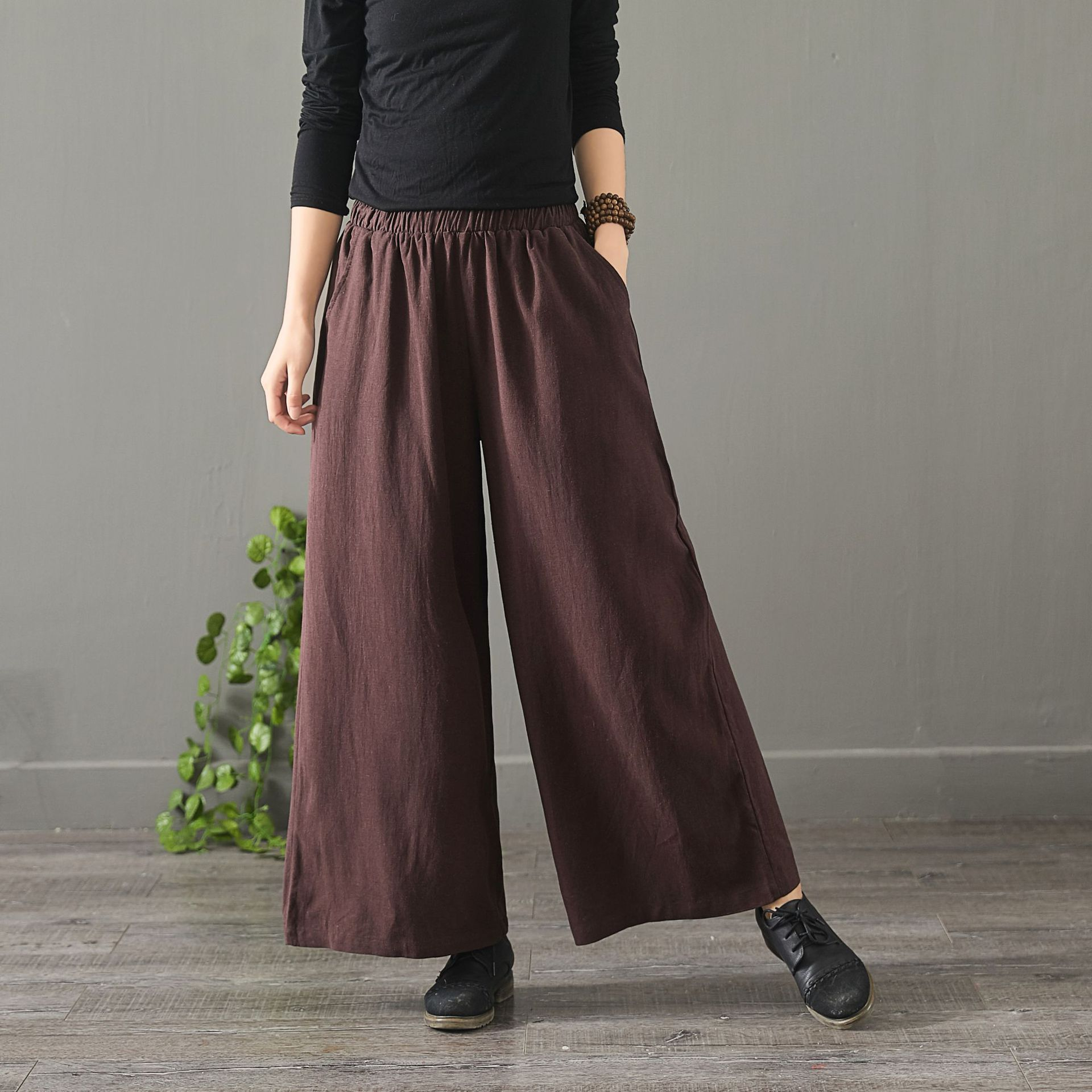 2019 spring new cotton GIRL   PANT   LONG elastic waist loose straight   wide     leg     pants   women casual trousers four colors wholesale