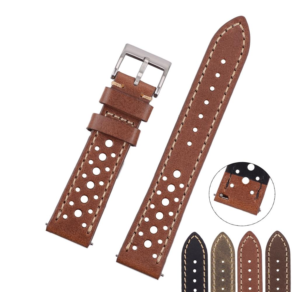 EACHE Italian Oil Tanned  Genuine Leather Quick Release Rally Racing Watch Strap For Man&Woman 20mm 22mm Black Brown