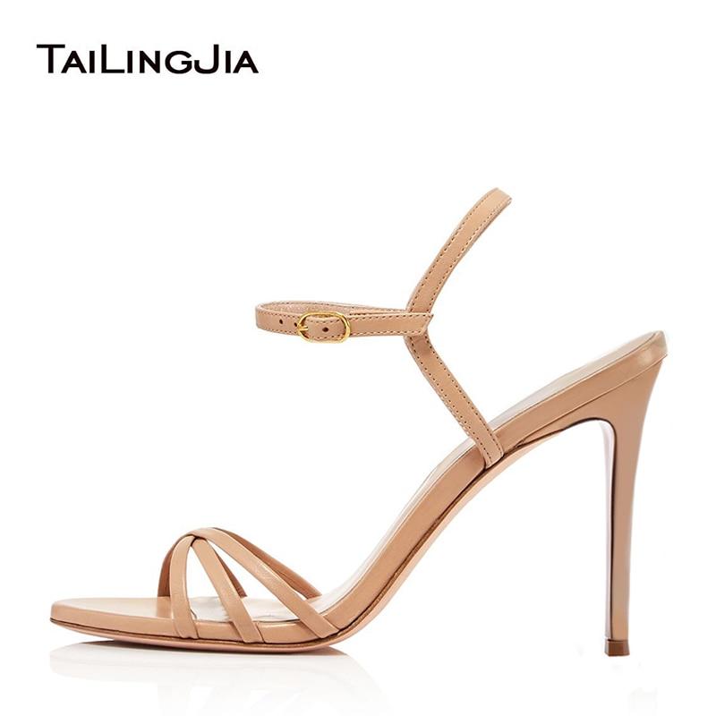 Tan Strappy High Heel Sandals