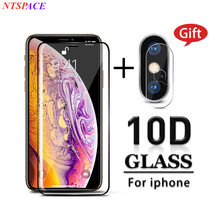 10D 2 in 1 Front screen protector Tempered Glass For iPhone X 7 6 6S 8 Plus XR XS XSmax Full Curved Screen Film Protective Glass