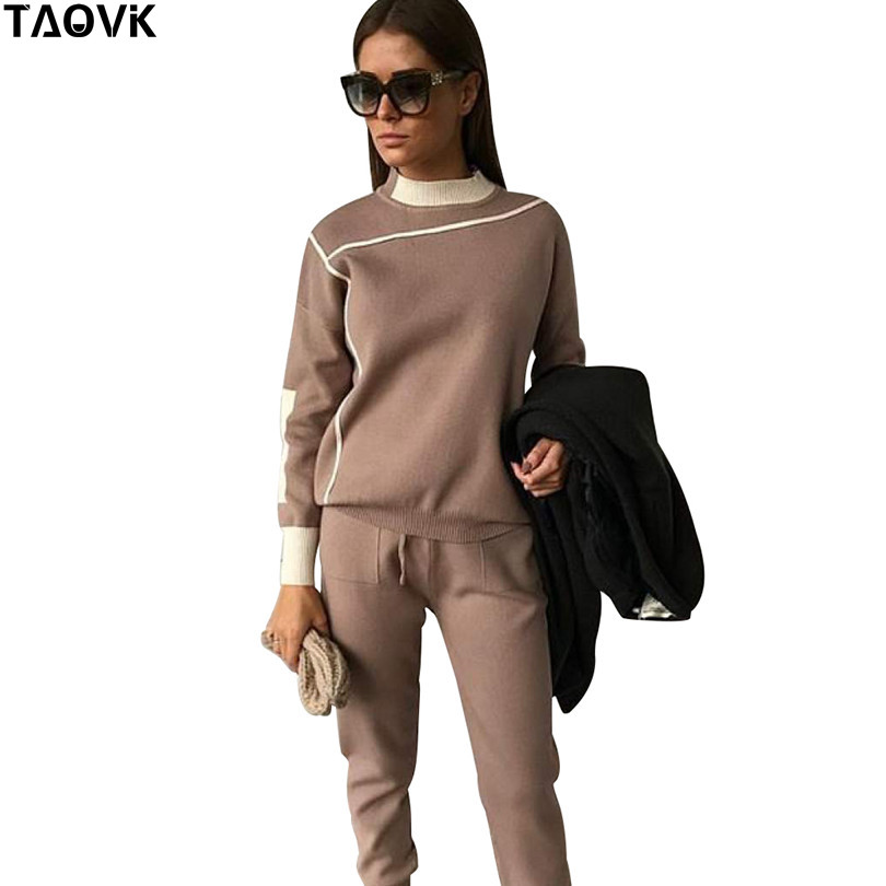 TAOVK Women 2 Pieces Set Knitted Pullover Sweaters O neck Long Sleeve tops elastic waist pant