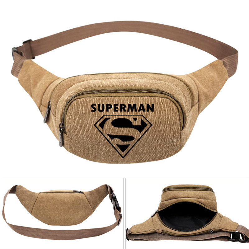 Superman Comic Hero Fashion Men's Women Boys Canvas Waist Pack Bag Pouch Belt Travel Hip Casual Fanny Bag Money Phone Belt Bag