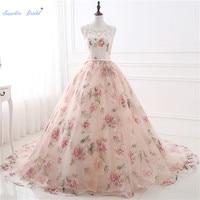 Sapphire Bridal Floral Print Ball Gown Quinceanera Dresses Illusion shoulder Organza Vestidos De Debutantes Formal Party Gowns