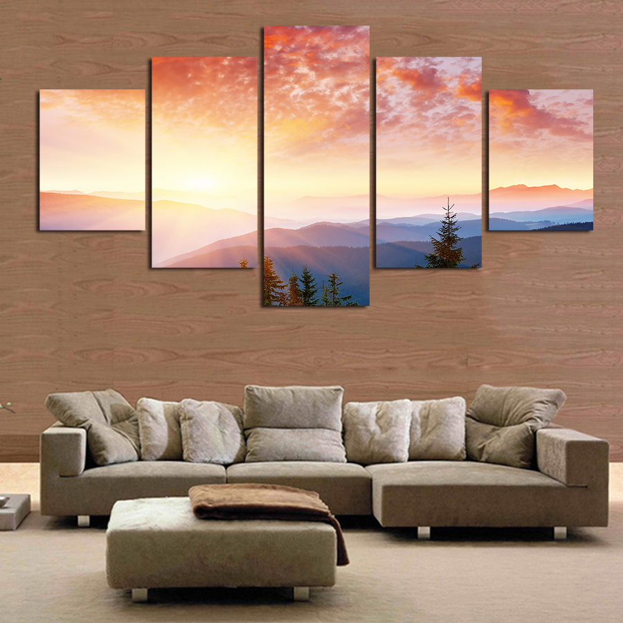 new 5 pieces free shipping popular landscape hot sell modern wall painting home wall art picture
