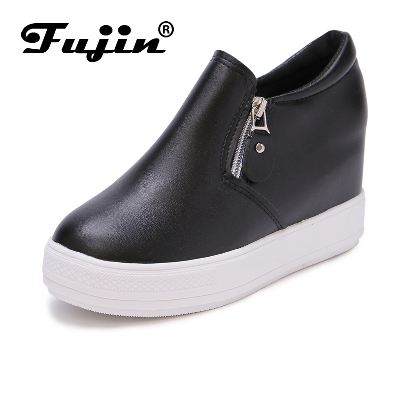 Fujin summer autumn winter Korean Fashion Solid Leather Platform Wedge Casual Shoes Women Increasing Loafers Slip on Shoes Woman nayiduyun women genuine leather wedge high heel pumps platform creepers round toe slip on casual shoes boots wedge sneakers