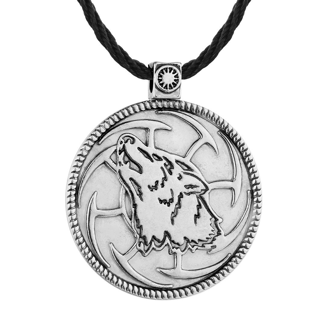 FESTWARE Serbia Symbol Tin Pendant Animal Wolf Pendant Mens Slavic Necklace ...