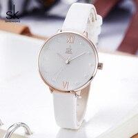 Shengke sk feminino pearl dial relógio de quartzo feminino senhoras relógio de couro branco reloj mujer presente do dia das mulheres relógios zegarek damski sk1