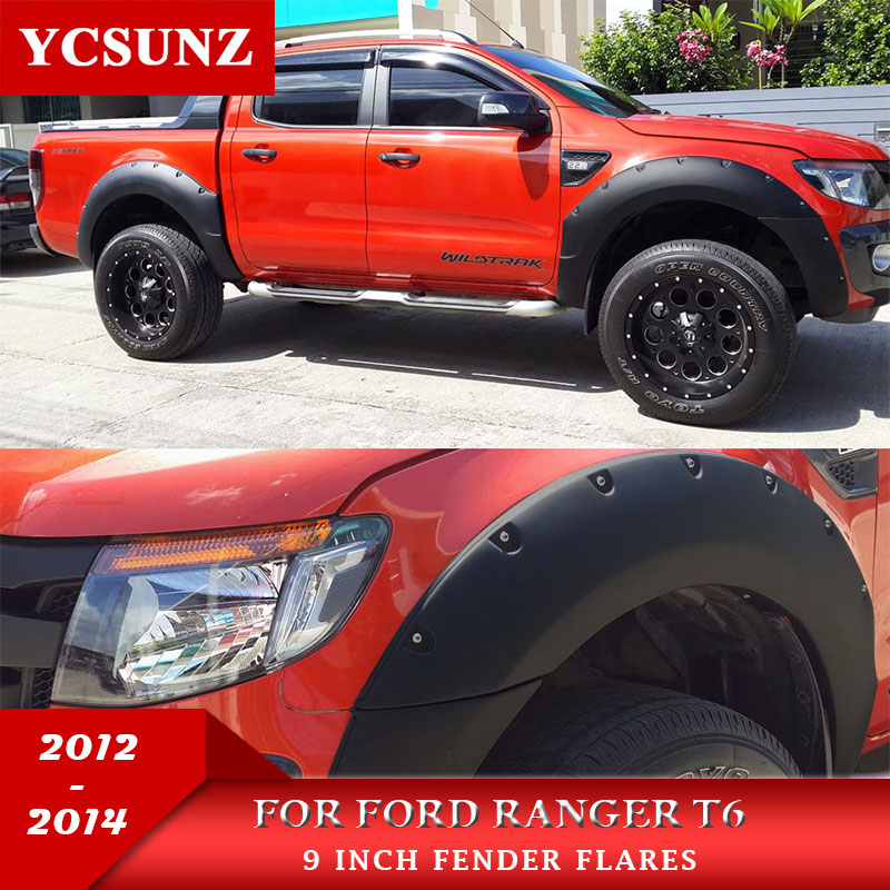 9 Inch Fender Flares Wheel Arch Accessories Black Color Mudguards For Ford Ranger 2012 2013 2014