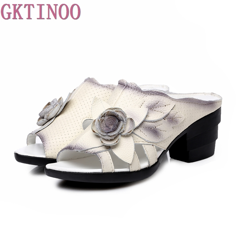 Flower Slippers Summer Genuine Leather Shoes Handmade Slides Peep Toes High Heels Women Slipper