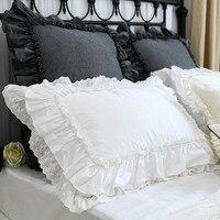 2pcs Luxury pillow case European princess big ruffle pillow cover handmade wrinkle lace pillow case pillow sham sweet pillowcase