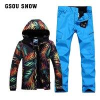 Gsou камуфляж снег Штаны сноуборд Куртки лыжные комплекты Мужской Chaqueta Hombre VESTE одежда для катания на лыжах Mountain одежда для лыжников