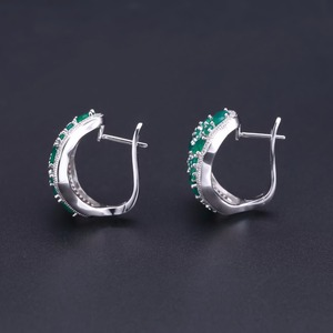 Image 5 - GEMS BALLET 14.31Ct Natural Green Agate Vintage Jewelry Sets Pure 925 Sterling Silver Gemstone Earrings Ring Set For Women Fine
