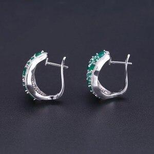 Image 5 - GEMS bale 14.31Ct doğal yeşil akik Vintage takı setleri saf 925 ayar gümüş taş küpe yüzük seti kadınlar için güzel