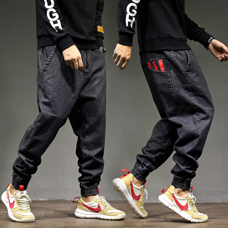 High Street Fashion Men Jogger Jeans Black Color Size 28-42 Top Quality Loose Fit Cargo Pants Harem Trousers Hip Hop Jeans Men