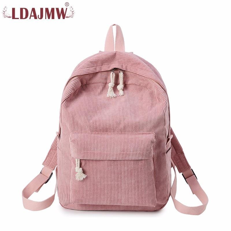 LDAJMW Woman Backpack Corduroy Backpack School Bag For Teenage Girls Travel Rucksack Kawaii Backpack Harajuku Bag