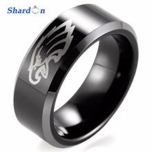 SHARDON Wedding & Engagement jewelry 8mm Black Beveled Two-Toned Tungsten Ring laser Philadelphia Eagles Outdoor Ring for Men