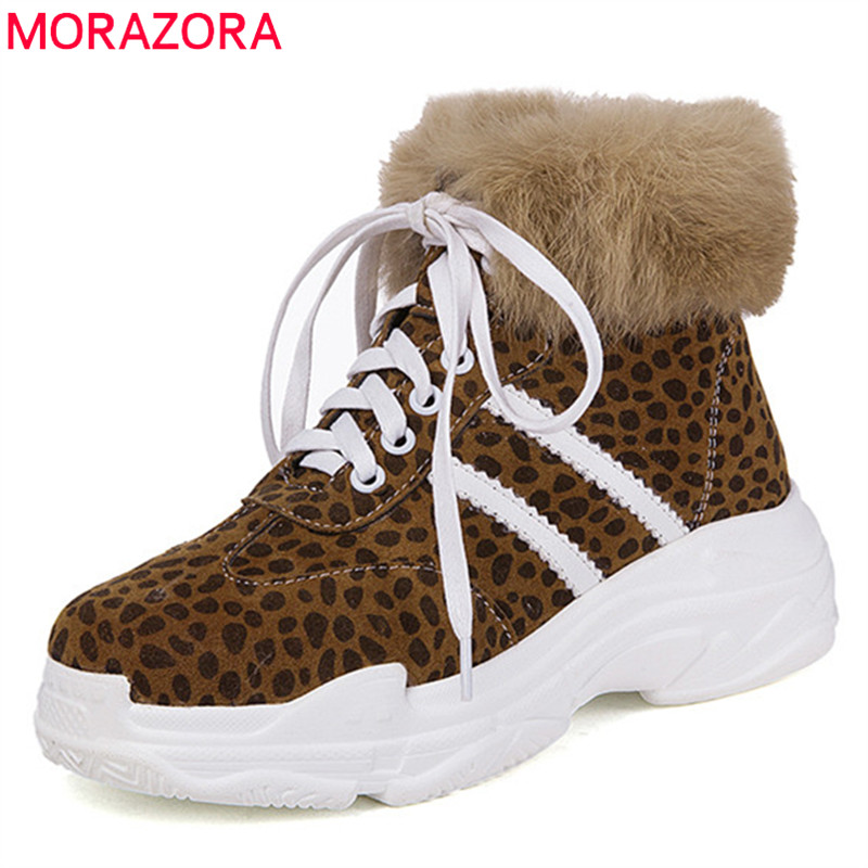 MORAZORA 2018 wholesale big size 33-46 ankle boots for women flock autumn winter boots mixed color lace up platform shoes woman MORAZORA 2018 wholesale big size 33-46 ankle boots for women flock autumn winter boots mixed color lace up platform shoes woman