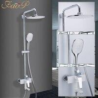 FAOP shower faucets white bathroom shower set waterfall rainfall shower heads brass shower panel bathroom mixer faucets