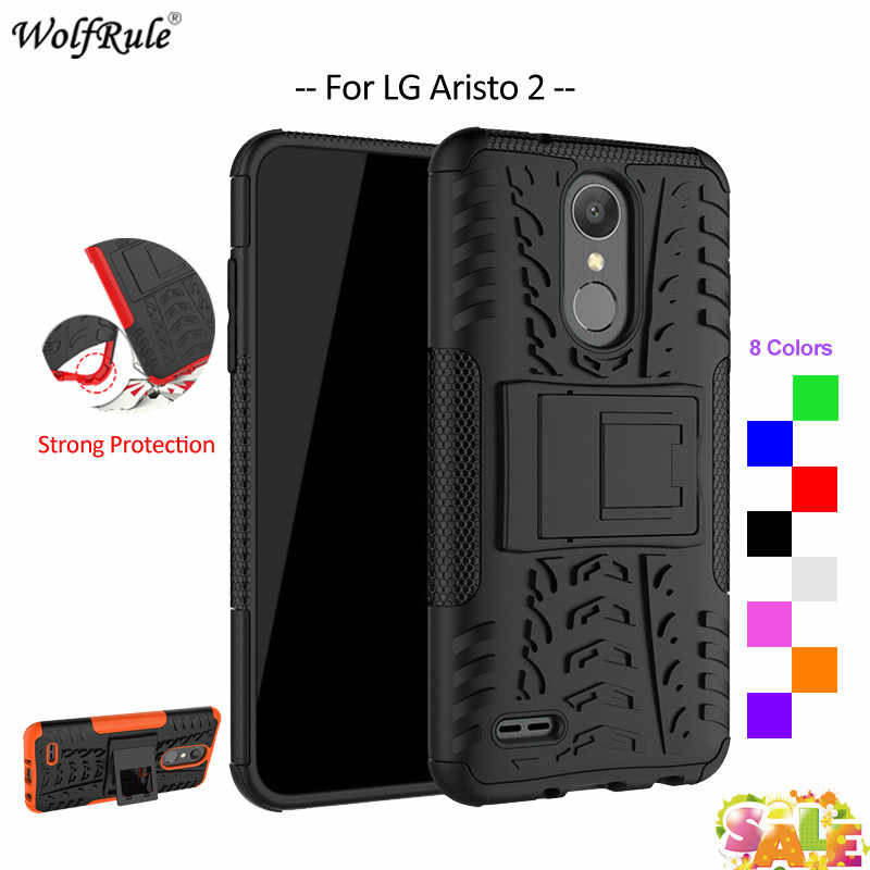 super popular 8c4d9 9f02e For Cover LG Aristo 2 Case WolfRule TPU & PC Holder Armor Bumper Protective  Phone Case For LG Aristo 2 Cover For Metro PCS 5''