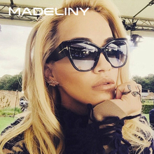 MADELINY New Fashion Brand Designer Tom Cat Eye Sunglasses Women Oversized Frame Vintage Sun Glasses oculos de sol UV400 MA092