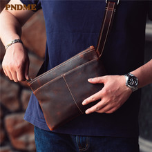 PNDME retro simple crazy horse cowhide mens small shoulder crossbody bags casual multi function daily genuine leather chest bag
