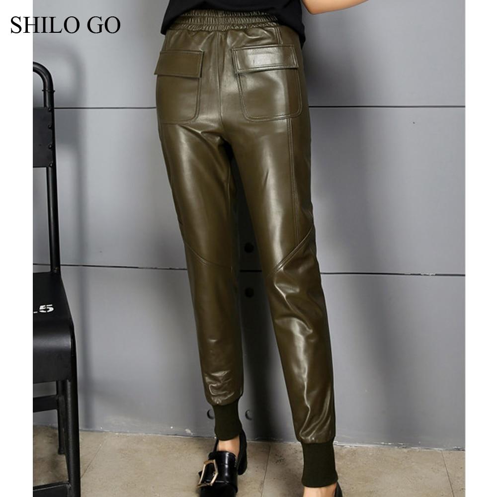 Otoño Cintura Genuino 3 Cuero Conciso Bolsillo Piel Ir Lápiz Shilo Frente 2 1 Elástica Oveja De Pantalones Moda Mujer TzXT7Av