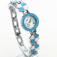 Three flower chain band watches,jw562 quartz motion style watches,silver plated girl's watches