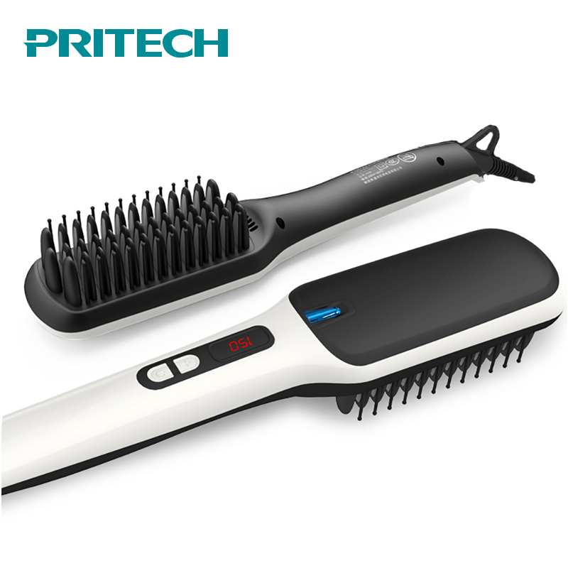 PRITECH Fast Heating Ionic Hair Straightener Brush Cordless Electric Hair Straightener Comb LCD Display Flat Hair Styling Tool