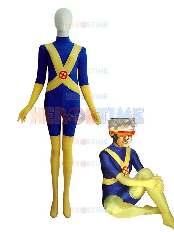 Blue & Yellow X-Men Cyclops Costume Tight Spandex Superhero Costume Halloween Party Comic Zentai Suit