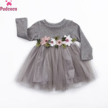 купить Autumn Winter Print Flower Baby Girl Knitted Dress Tutu Ball Gown Long Sleeve Princess Dresses Girls Christmas Dress в интернет-магазине