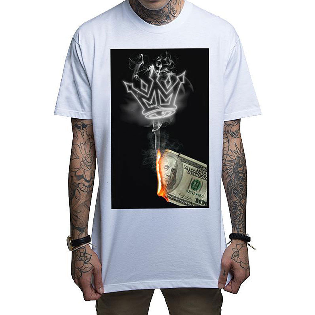 Mafioso Mens Money To Burn T Shirt White Money Smoke Burn Clothing Apparel Short Sleeve Funny Design top tee Summer Style