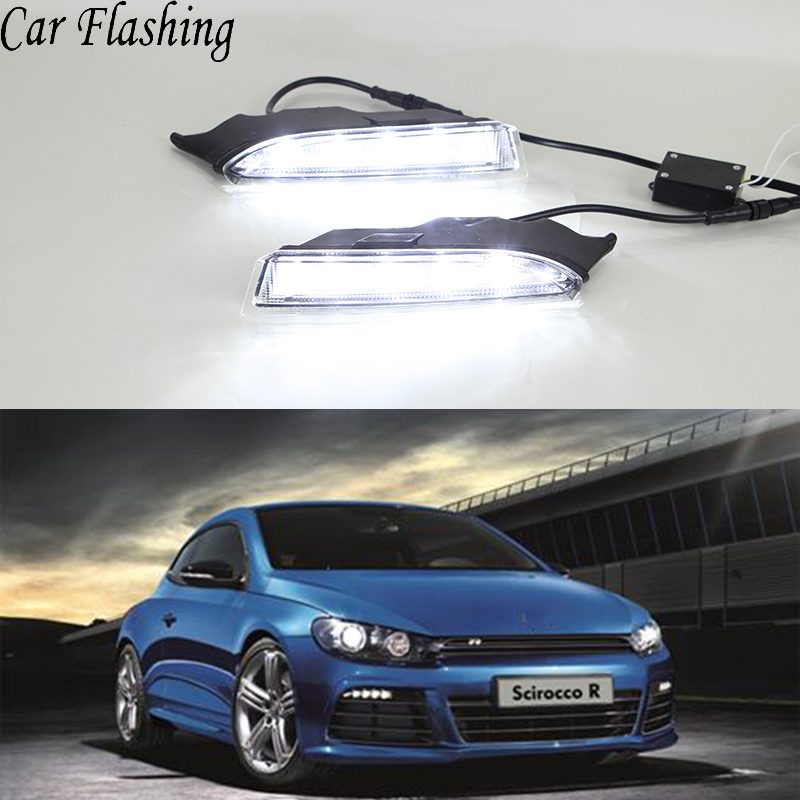 Car Flashing 2Pcs LED Daytime Running Light for VW Volkswagen Scirocco R 2010 2011 2012 2013