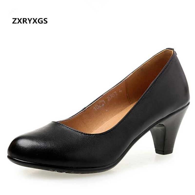 2019 New Spring Plus Size Work Shoes Woman Shoes High Heels Shallow Mouth Wild Black Cowhide Leather Shoes Elegant Fashion Shoes2019 New Spring Plus Size Work Shoes Woman Shoes High Heels Shallow Mouth Wild Black Cowhide Leather Shoes Elegant Fashion Shoes