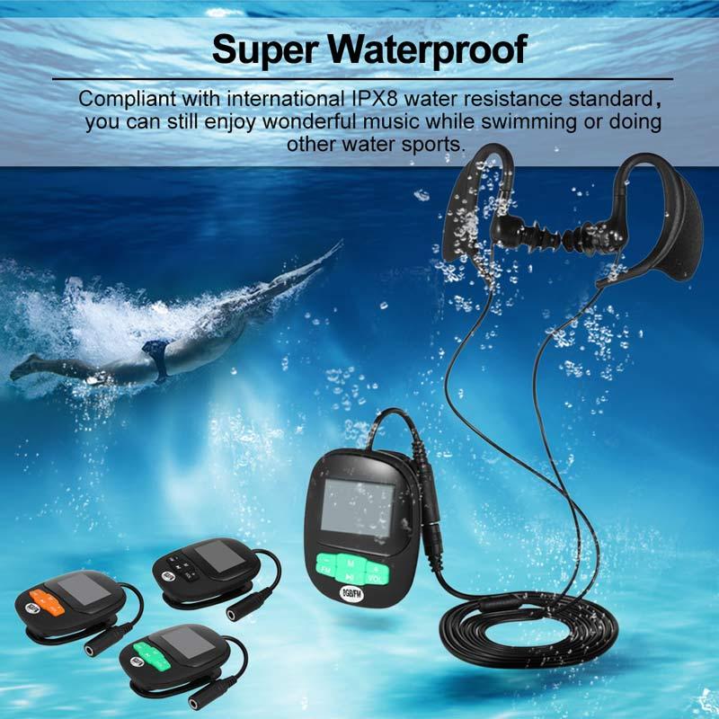 Newest Waterproof MP3 4G 8GB IPX8 Swimming Diving Player Earphone Underwater Surf Sports Swim Mini Headset FM Radio Screen MP3