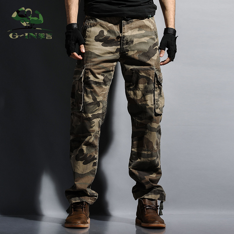 71e3b500d9d Men Workout Style Multi Pocket Cargo Pants Combat Casual Cotton Long  Straight Trousers Plus Size Slim Fit