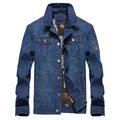 2016 новый Плюс размер XXL-7XL (бюст 146 см) новые зимние мужские промывают джинсовые рубашки сращивание мужская мода прилив большой размер куртки