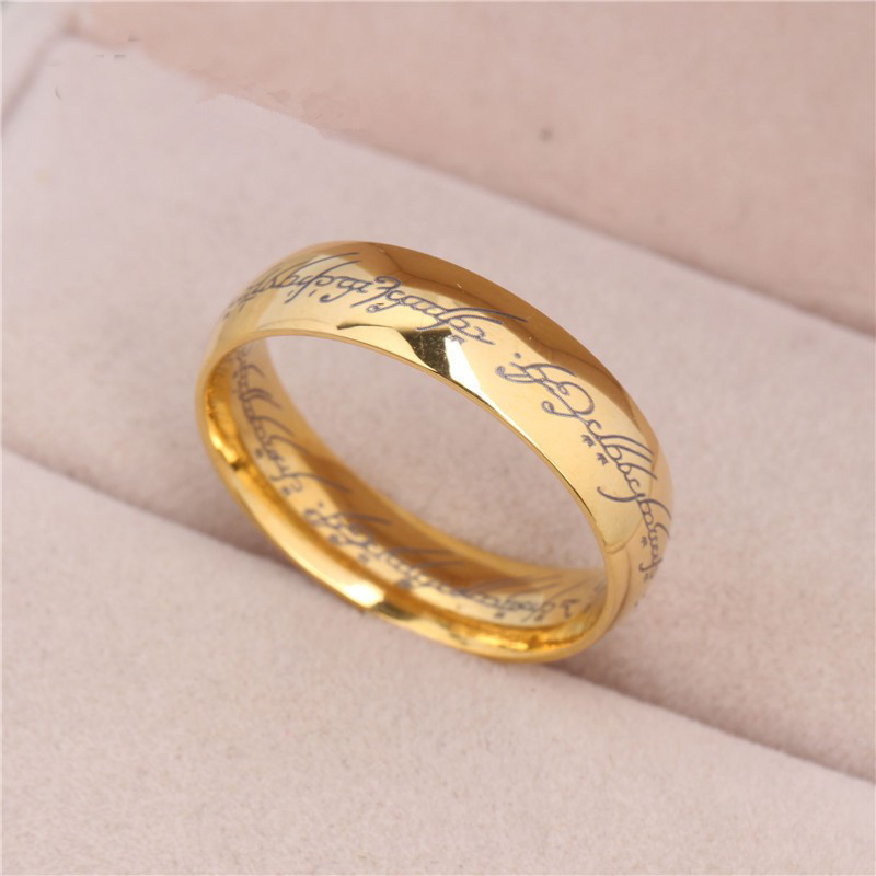 one ring of power goldhe plated lord of rings women finger wedding band fashion jewelry accessory big size 7 8 9 10 11 in rings from jewelry accessories - The One Ring Wedding Band