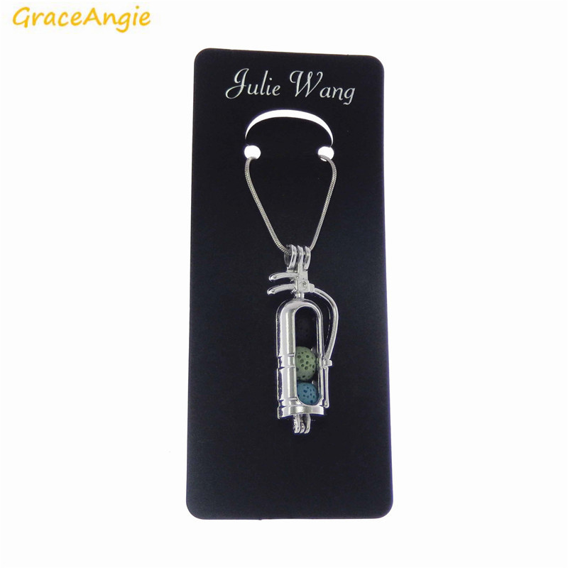 GraceAngie 1PC Openable Fire Extinguisher Shape Long Cage Locket Pendant Necklace Essential Oil Diffuser Special Jewelry Gift