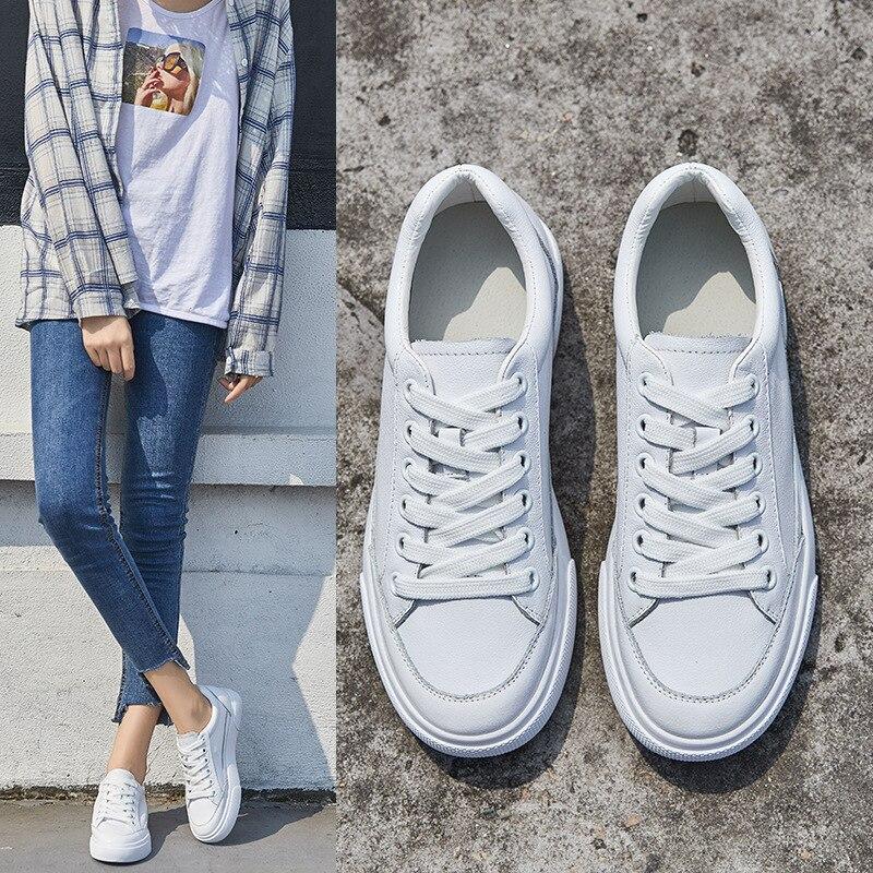 2018 Mode En Cuir Véritable Chaussures Femmes Vulcanisation Chaussures de Marque Femme Respirant Appartements Occasionnels blanc Chaussures Sneakers Femmes