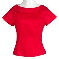 Wholesale 2018 New Fashion Blusas Blouse Red Peter Pan Collar Button Women Elegant Top Summer Short Sleeve Plain Workwear Blouse