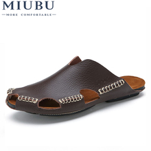 MIUBU Summer Men Sandals Genuine Split Leather Beach Brand Casual Shoes Flip Flops Thong Sneakers