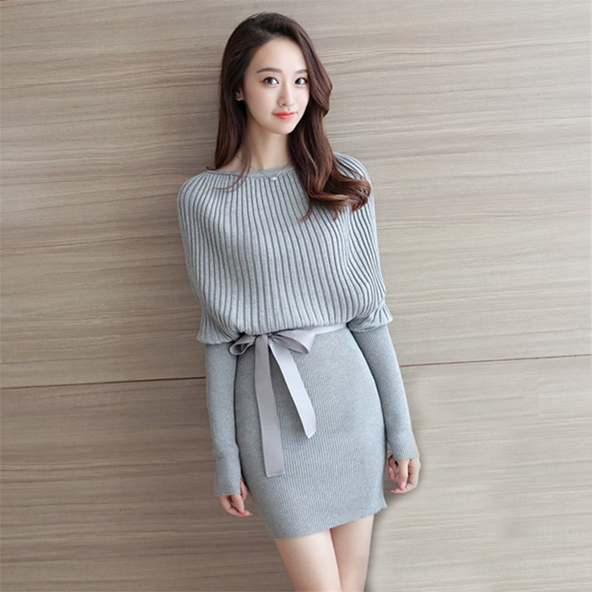 Autumn Winter Women Sweater Dress Elegant Batwing Sleeve Knitted Dresses Female Bodycon Sashes Pullover Mini Dress Vestidos A685 bonu sexy bodycon sweater dress simple elegant dress female winter knitted flare sleeve split dresses for women vestidos