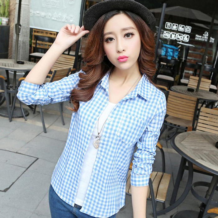 The New Spring And Summer 2015 Korean Fashion Style Shirts Long Sleeved Shirt Shirt Coat Lady