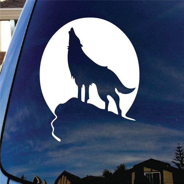 Howling Wolf Moon Die Cut Car Window Vinyl Decal Sticker Funny Car - Die cut window decals