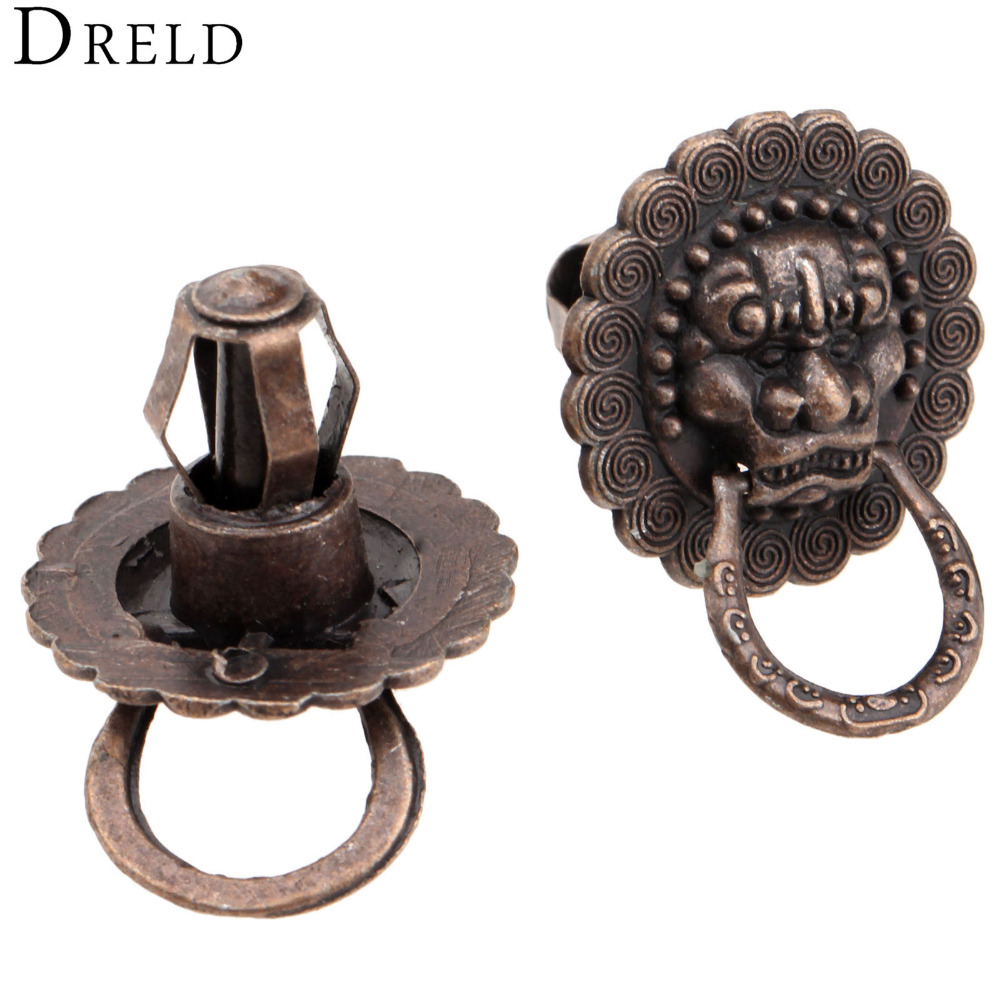 2pcs antique brass cabinet knobs and handles vintage bronze metal furniture door knob ring cabinet dresser drawer pull handle